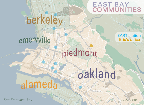 map of East Bay communities