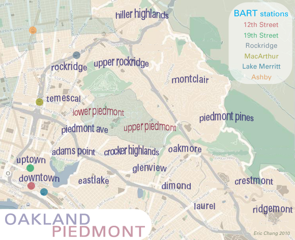 map of Oakland and Piedmont neigborhoods
