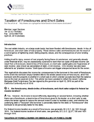 Taxation of Foreclosures and Short Sales
